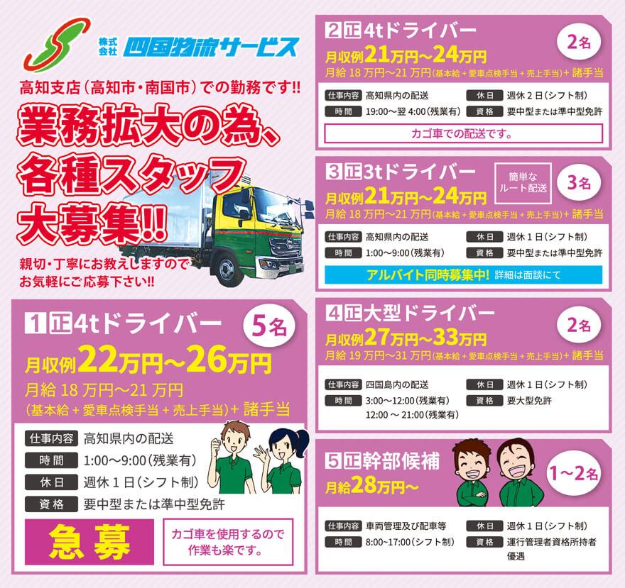 株式会社四国物流サービス 高知支店4tドライバー〔5名募集〕画像